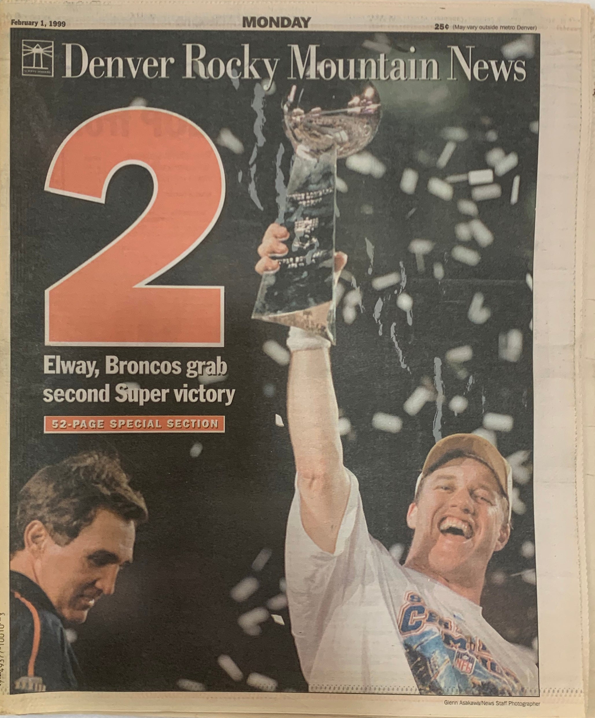 Rocky Mountain News 1999 Denver Broncos Super Bowl #2 Newspaper - Latitude Sports Marketing