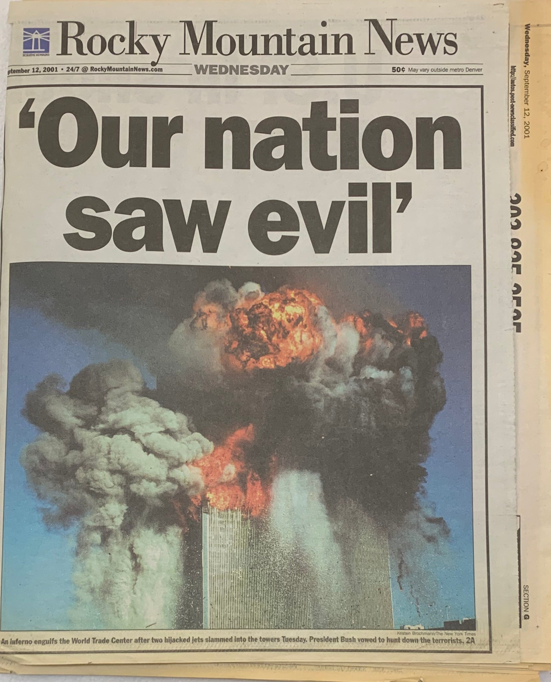 Our Nation Saw Evil September 12 2001 9/11 Rocky Mountain Newspaper - Latitude Sports Marketing