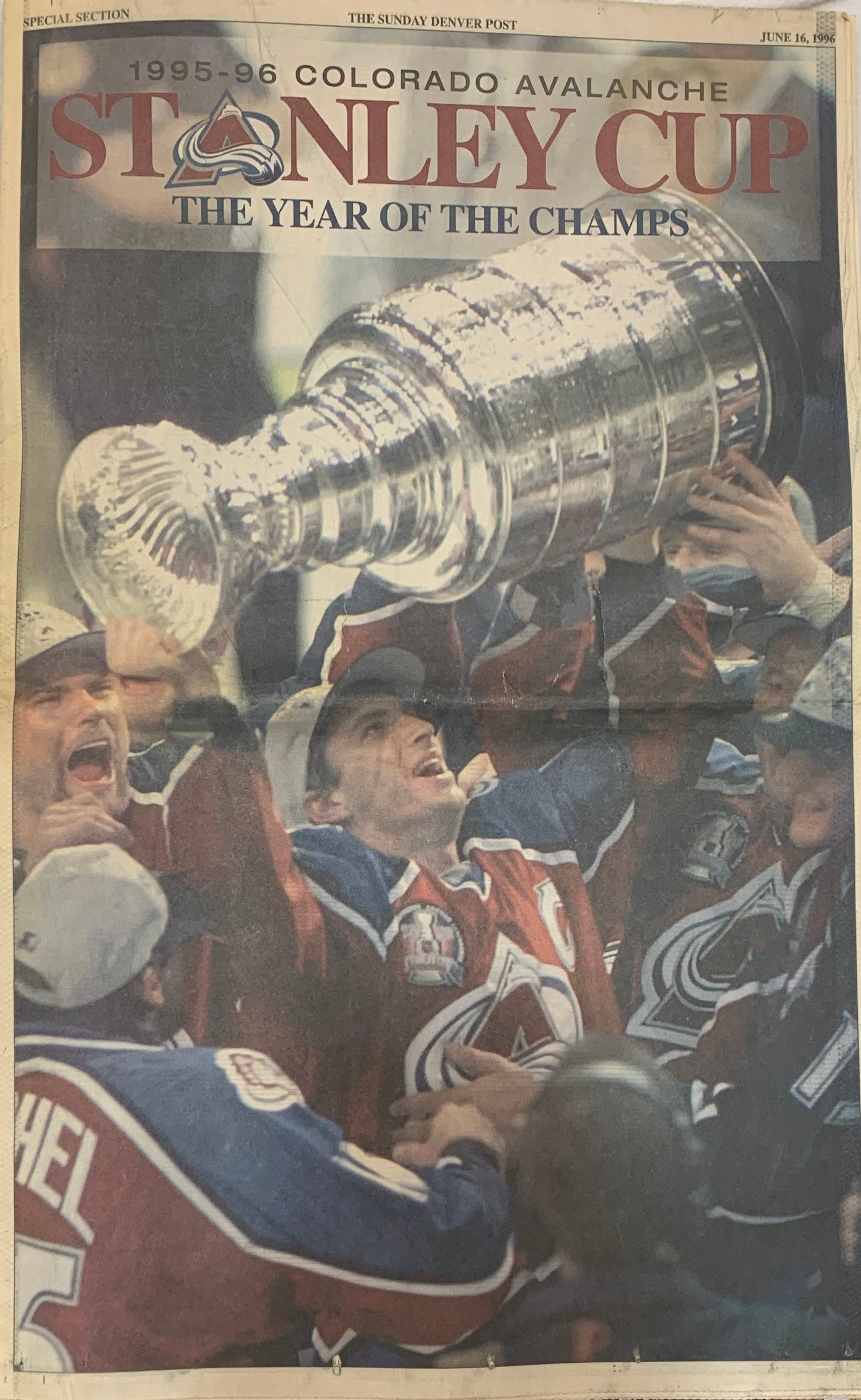 Rocky Mountain News June 16, 1996 Colorado Avalanche The Year of the Champs - Latitude Sports Marketing