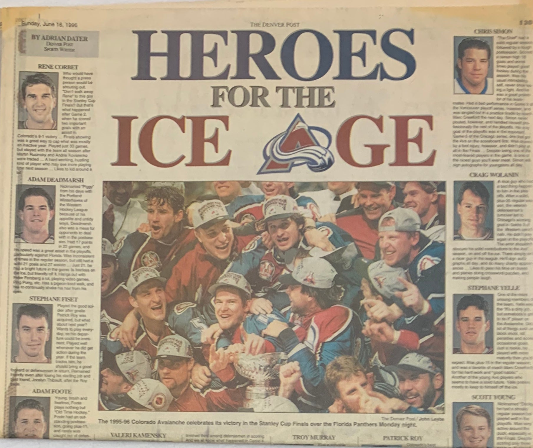 Rocky Mountain News June 16, 1996 Colorado Avalanche Heros For the Ice Age - Latitude Sports Marketing