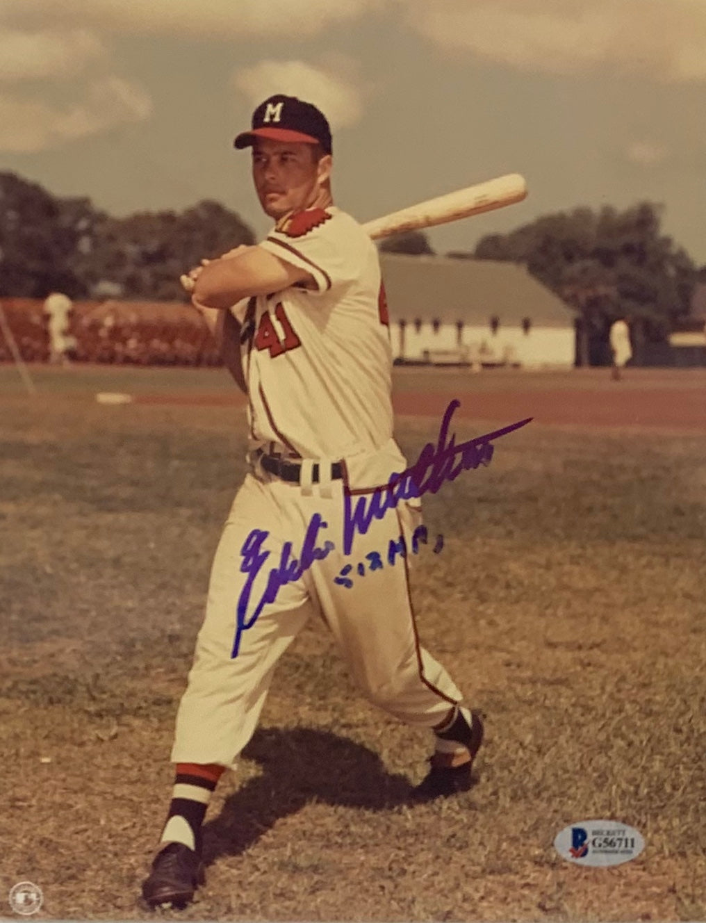 Eddie Mathews Signed 8x10 Photo w/ Inscription - Latitude Sports Marketing