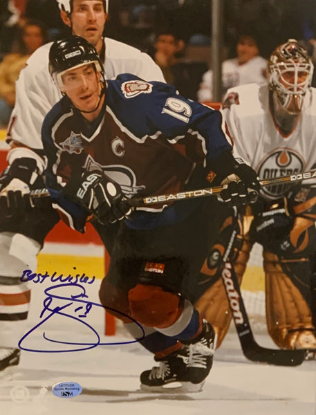 "Joe Sakic Signed 8x10 Photo ""Best Wishes"" - Latitude Sports Marketing"