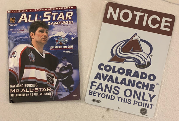 Avalanche 2001 All-Star Game Program w/ Avalanche Sign - Latitude Sports Marketing
