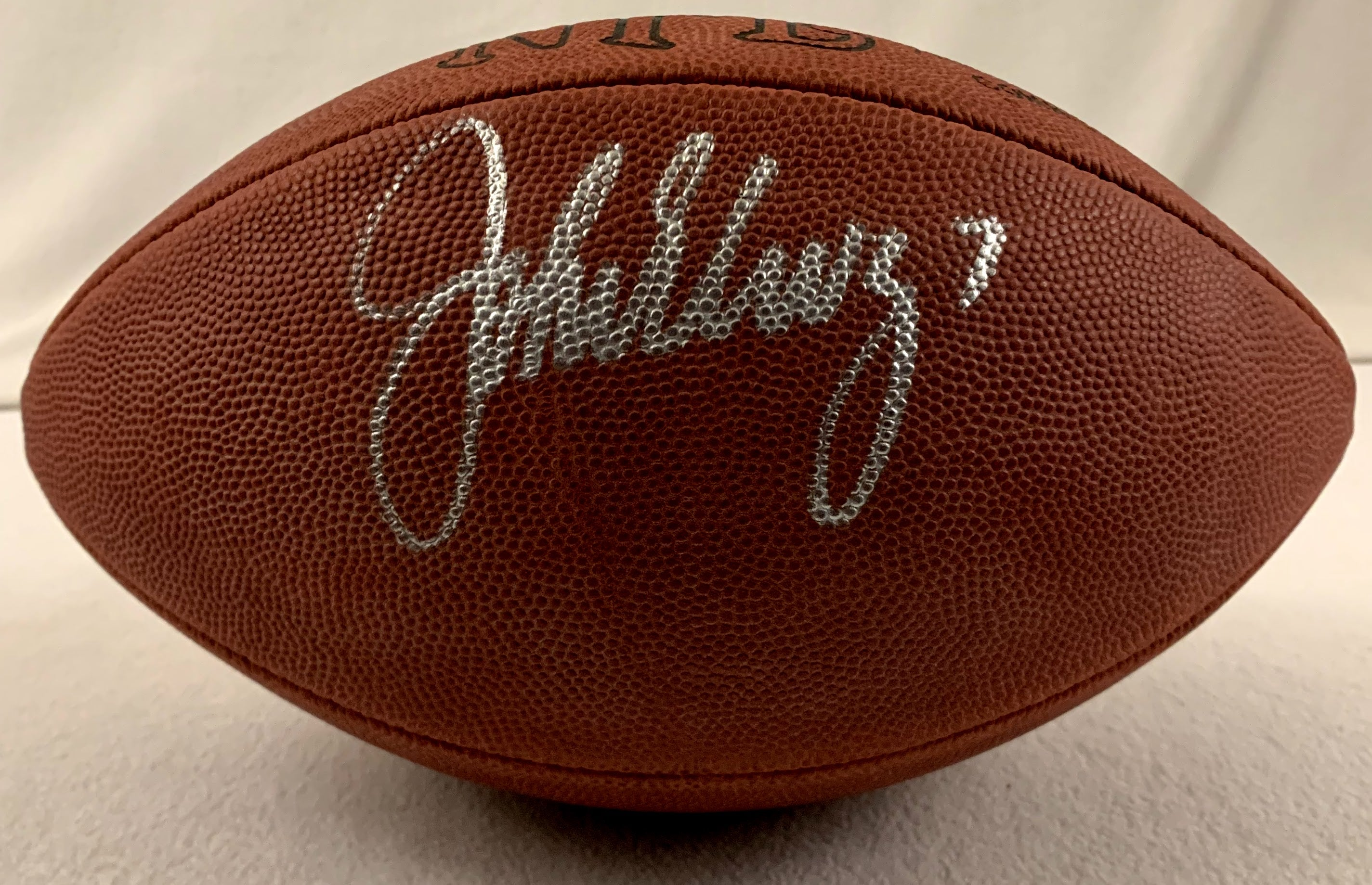 John Elway Signed Official NFL Game Ball (Wilson) - Latitude Sports Marketing