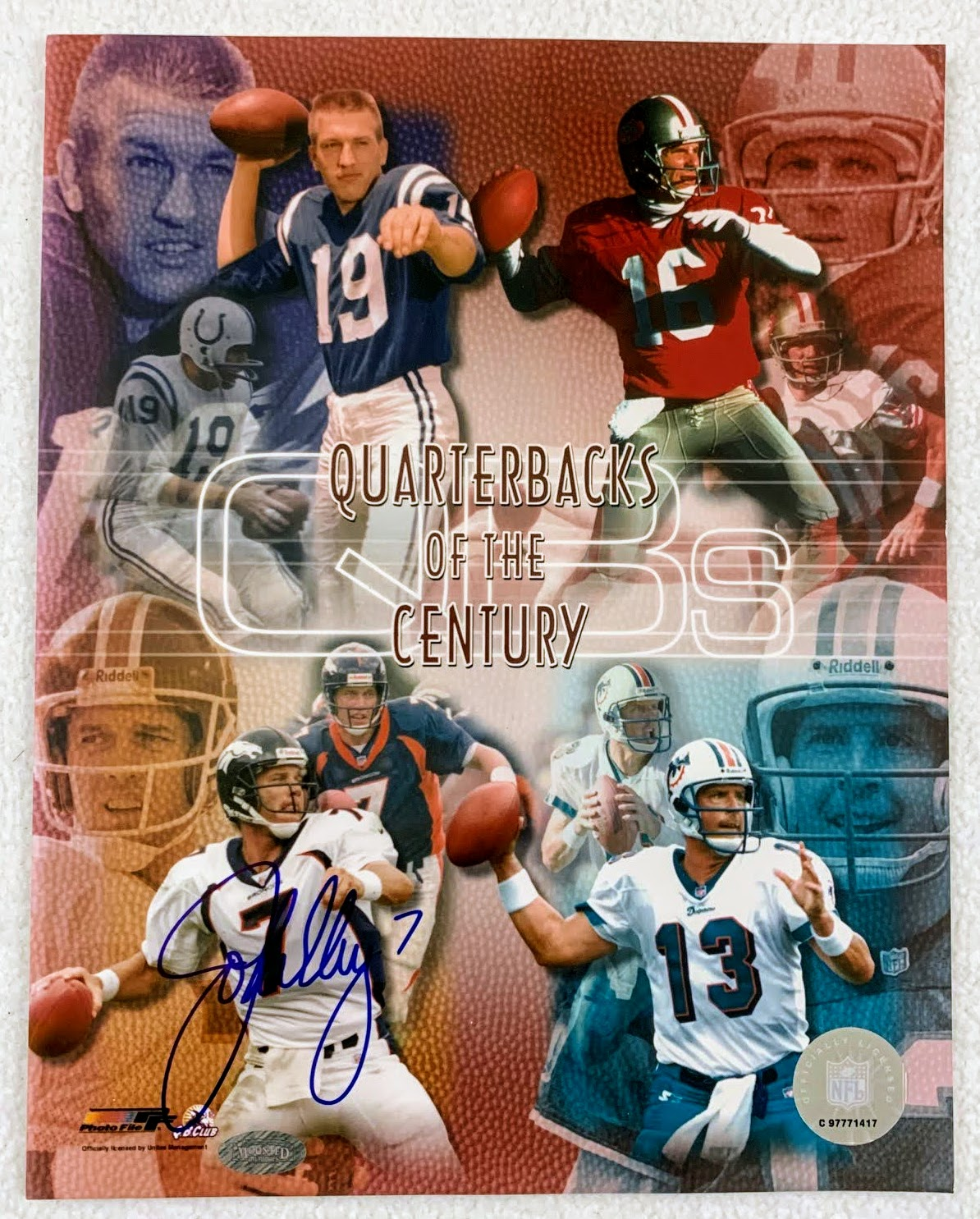 John Elway Signed Quarterbacks of the Century 8x10 Photo LSM Mounted Memories COA