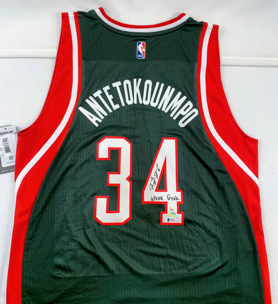 "Giannis Antetokounmpo Adidas Green Bucks Signed Jersey with ""Greek Freak"" Inscription BECKETT COA"