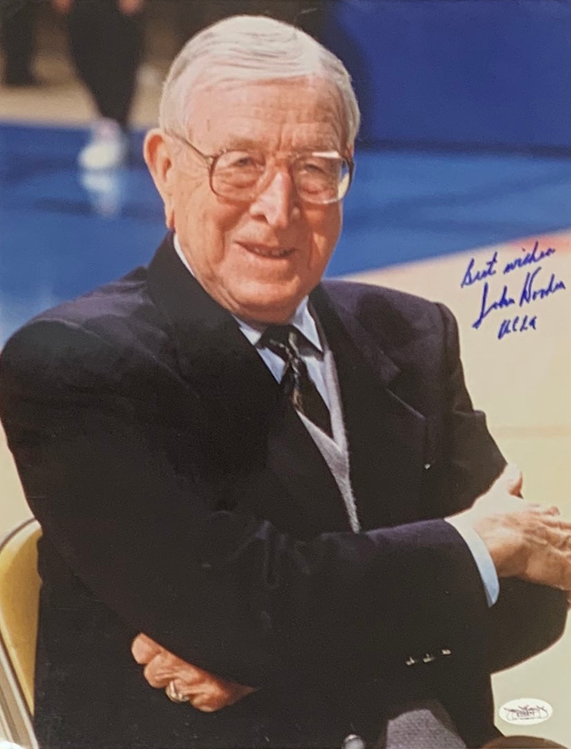 John Wooden Autographed 11x14 Photo of U.C.L.A Head Coach - Latitude Sports Marketing