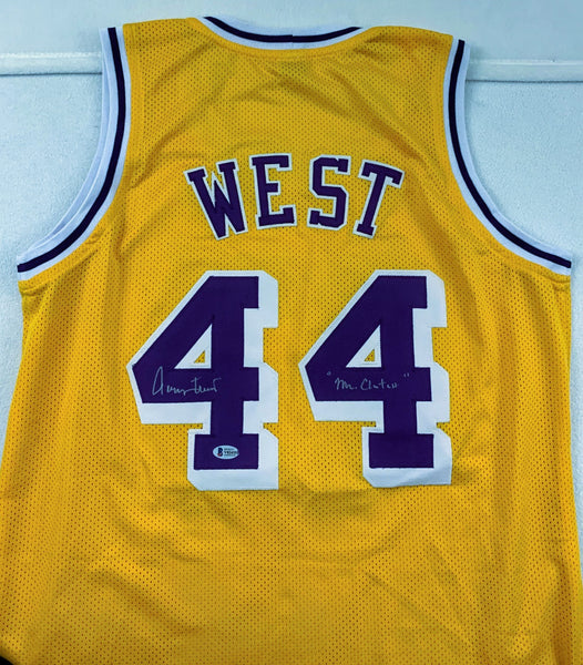 "Jerry West Yellow Lakers Jersey with ""Mr. Clutch"" Inscription BECKETT COA"