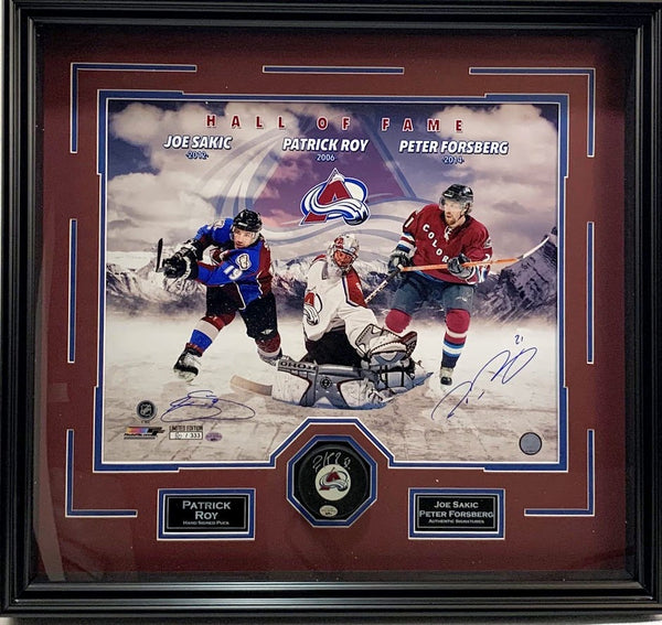 Avalanche Triple Signed Puck Shadowbox - Patrick Roy, Peter Forsberg, Joe Sakic - Latitude Sports Marketing