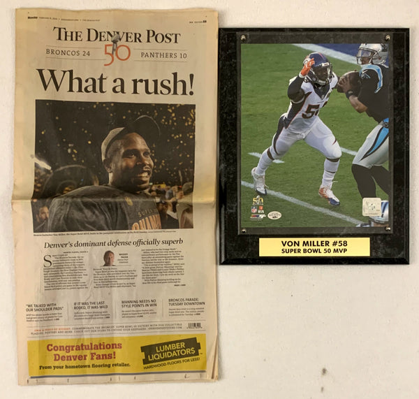 Von Miller Unsigned 8x10 Plaque w/ The Denver Post What a Rush! Newspaper - Latitude Sports Marketing