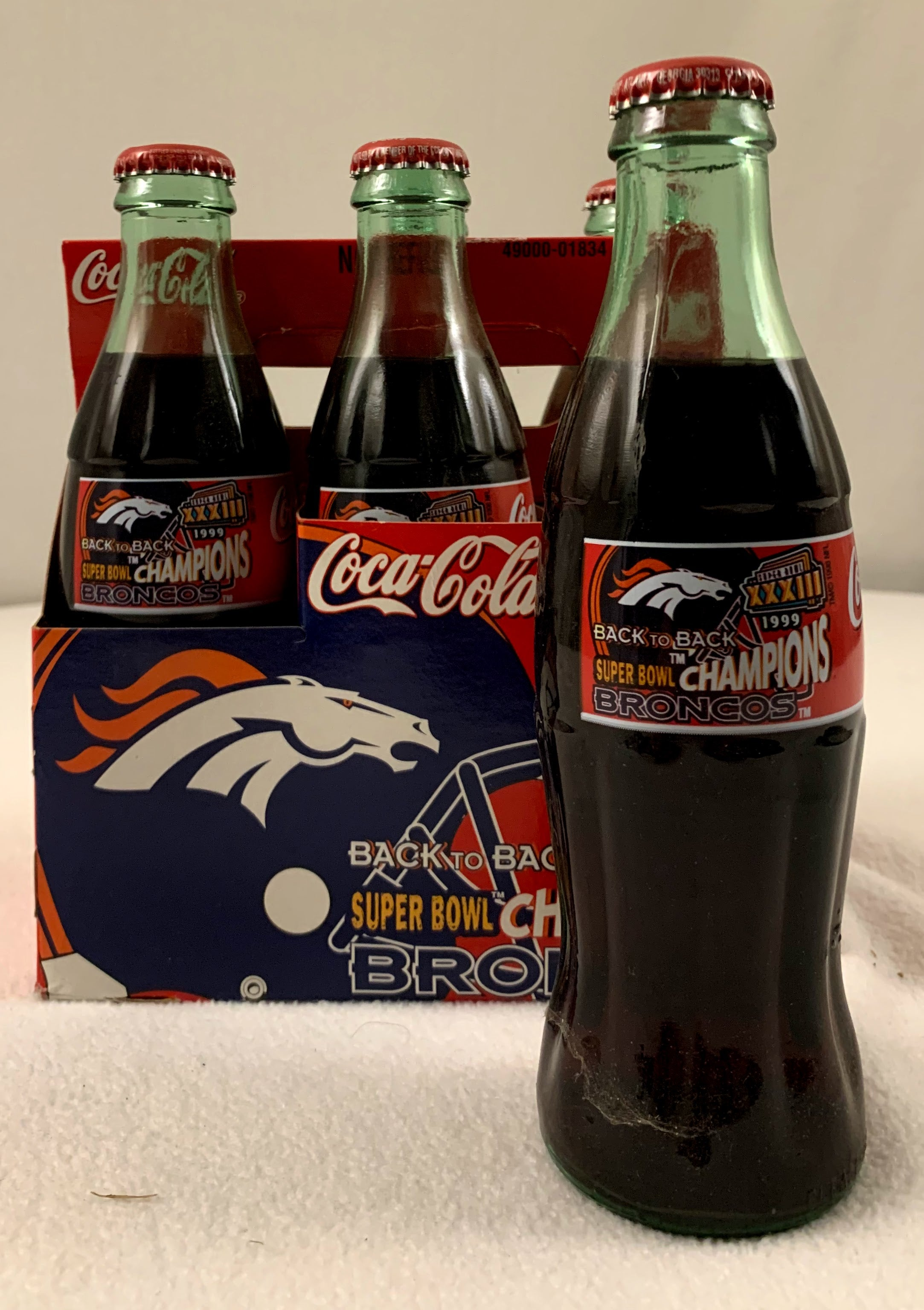 Super Bowl XXXIII Coke Bottles Unopened Missing One - Latitude Sports Marketing