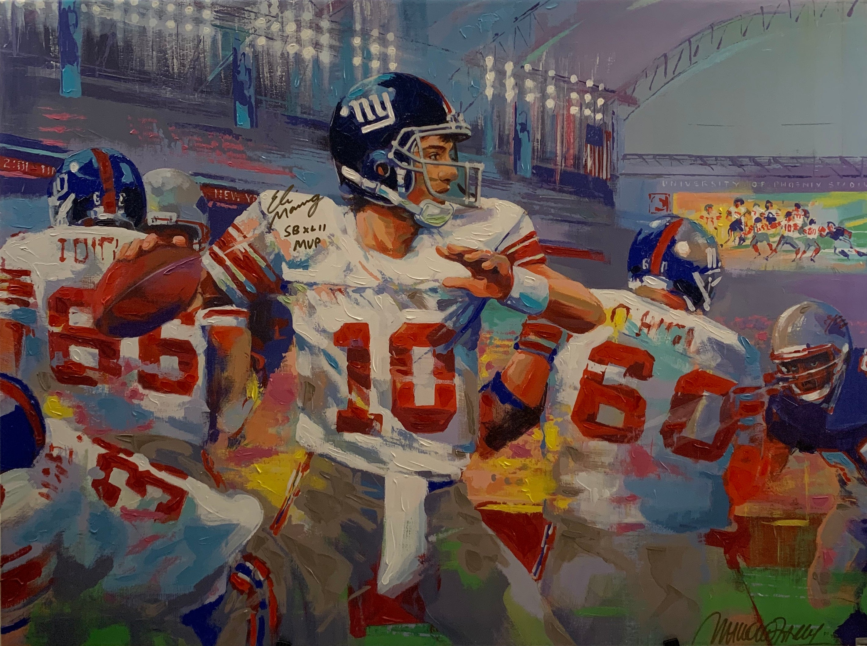 Eli Manning Canvas Painting Signed by Malcolm Farley and Eli Manning - Latitude Sports Marketing
