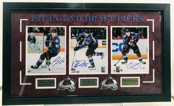 Colorado Avalanche 1st Round Draft Picks (Landeskog, Rantanen, & MacKinnon) Signed and Deluxe Framed 8x10 Photos COA LSM