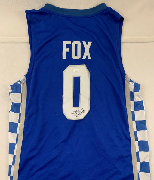 De'Aaron Fox Blue Kentucky Signed Jersey JSA COA