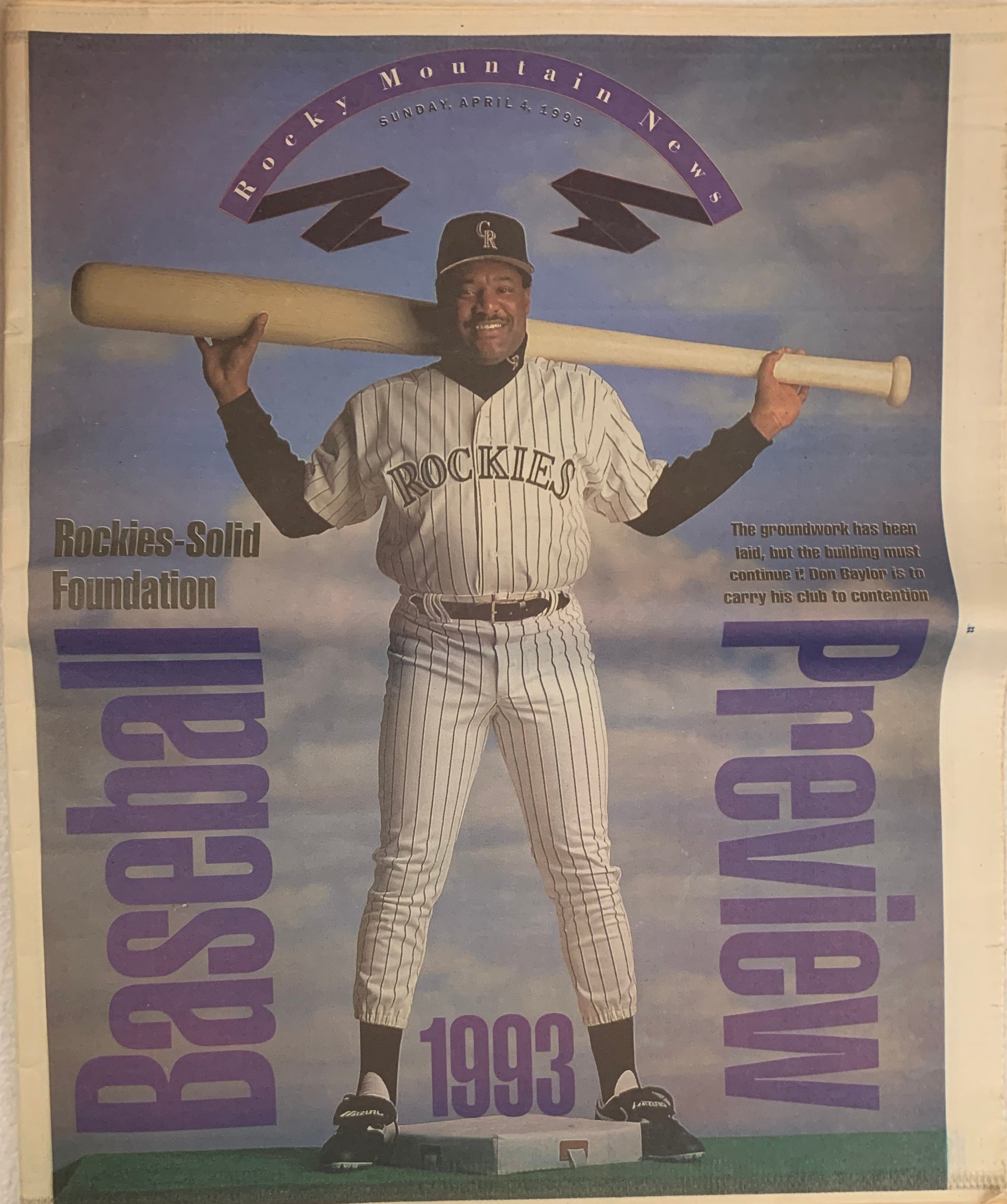Rocky Mountain News of 1993 Colorado Rockies Featuring Don Baylor - Latitude Sports Marketing