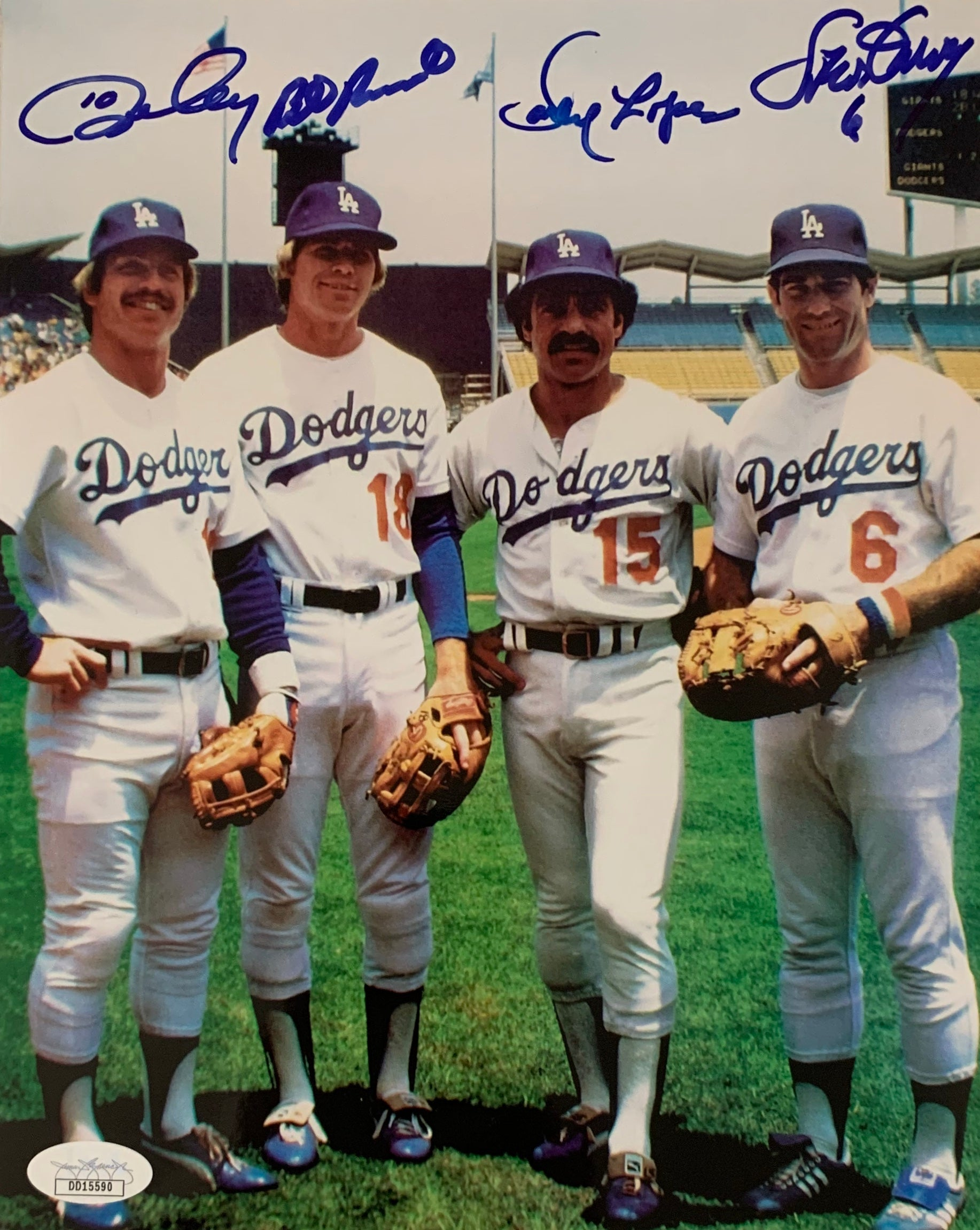 L.A. Dodgers Infield Signed By Ron Cey, Bill Russell, Steve Garvey, Davey Lopes 8x10 - Latitude Sports Marketing