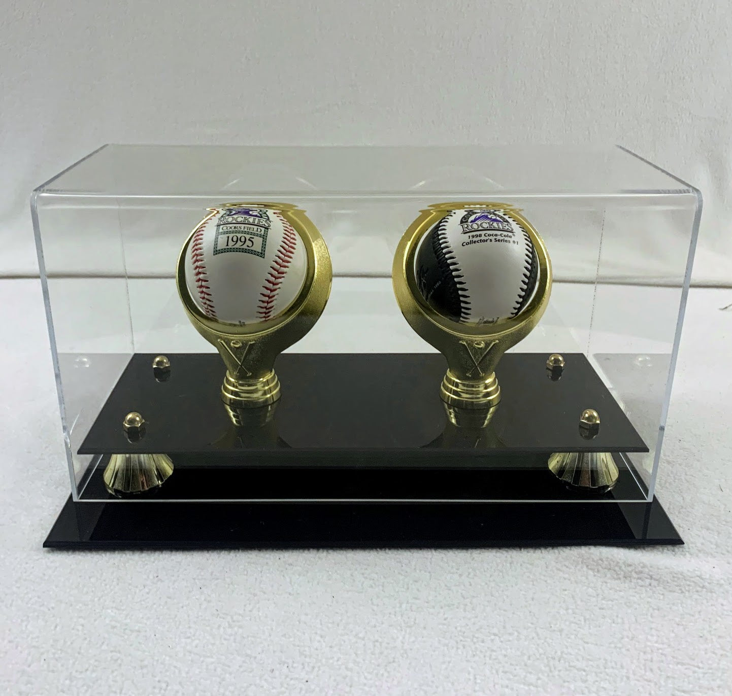 Two Baseball Holder Display Case SOLD *AS IS*