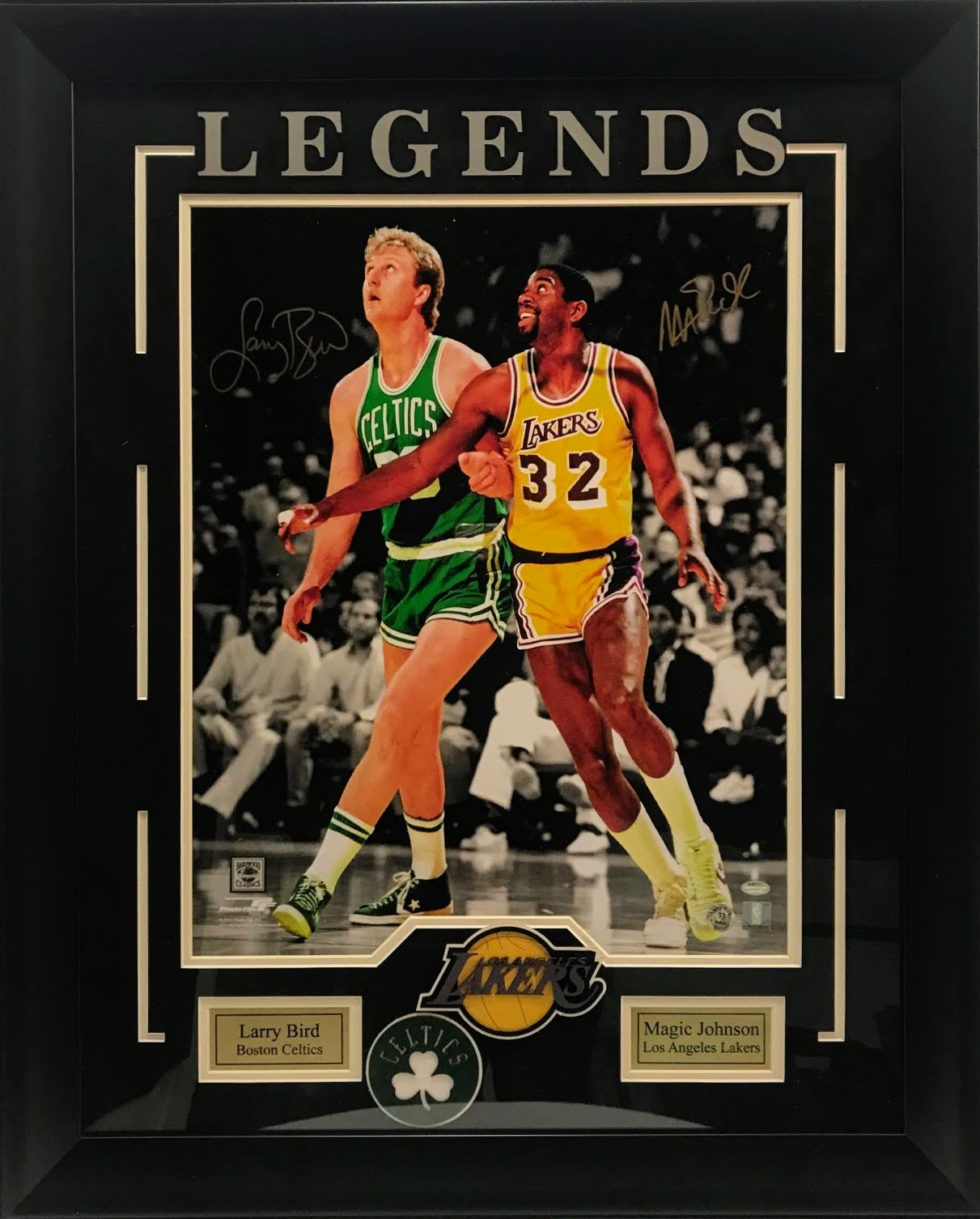 Magic Johnson & Larry Bird Dual Autographed Deluxe Framed 16x20 Photo Schwartz Sports COA