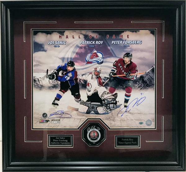 Avalanche Autographed 16x20 by Peter Forsberg & Joe Sakic with Patrick Roy signed puck framed