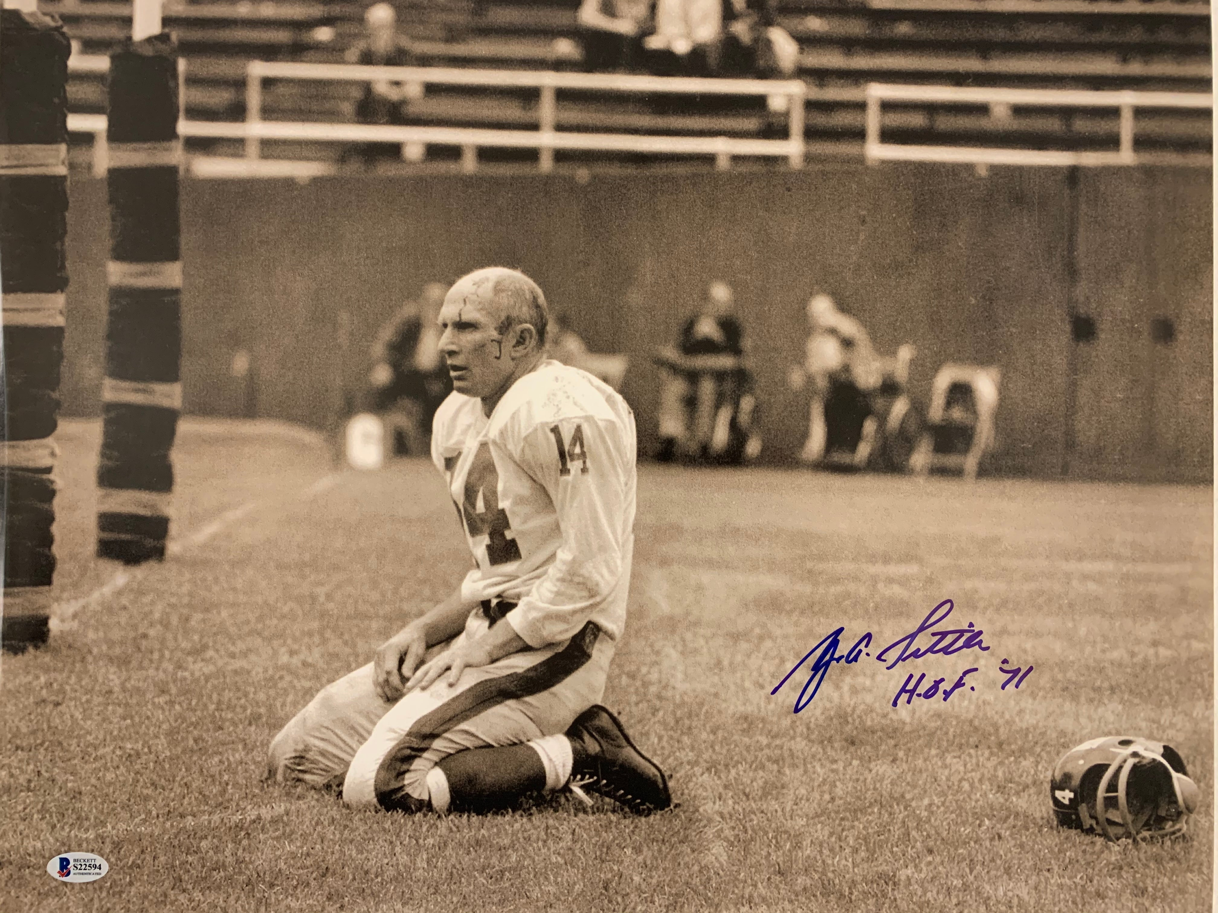 Y.A. Tittle 16x20 famous Anguish photo Inscribed HOF 71 - Latitude Sports Marketing