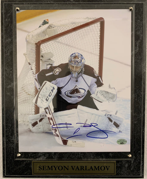 Semyon Varlamov Signed 8x10 Plaque (White Jersey) - Latitude Sports Marketing