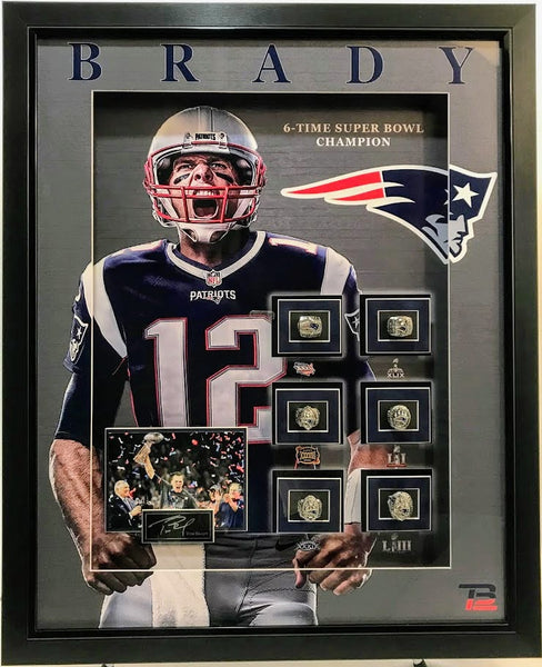Tom Brady Replica Rings Shadow Box with Laser Engraved Signature