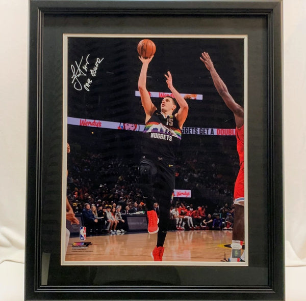 Nikola Jokic Autographed & Inscribed 16x20 Black Skyline Framed Photo JSA COA