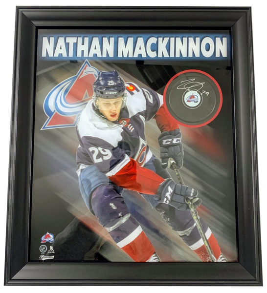 Nathan MacKinnon Signed Puck with Photo Shadowbox Deluxe Frame LSM FRAMEWORTH COA