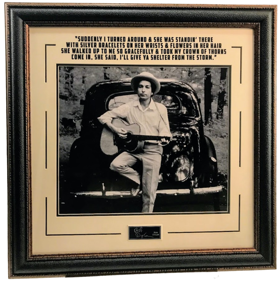 Bob Dylan 11x14 Photo Framed with Laser Engraved Signature and Quote