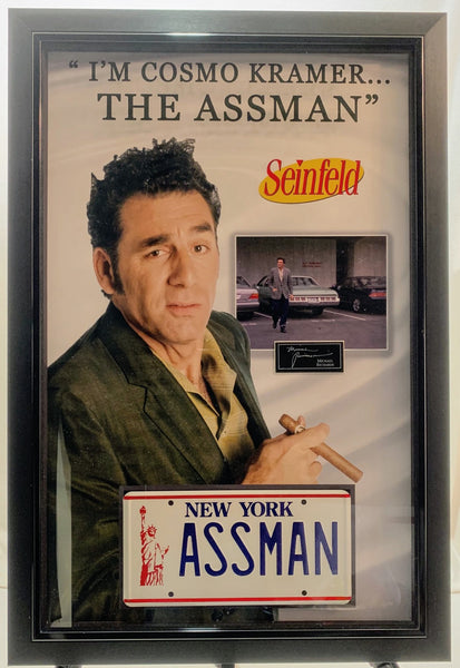 Assman Cosmo Kramer Replica Prop License Plate Framed