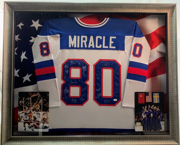 Miracle on Ice 1980 Olympics Deluxe Framed Team Signed USA Hockey Jersey COA JSA LSM