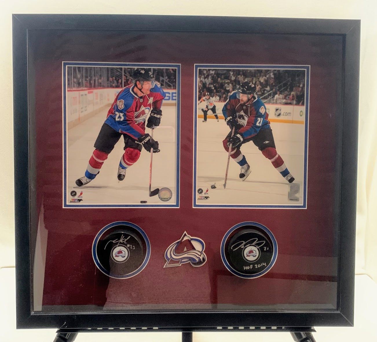 Peter Forsberg & Milan Hejduk Avalanche Autographed Pucks with Photos in Deluxe Frame LSM COA