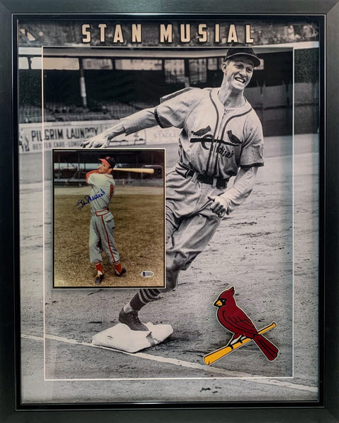 Stan Musial Deluxe Framed Signed 8x10 Photo Shadow Box LSM Beckett COA