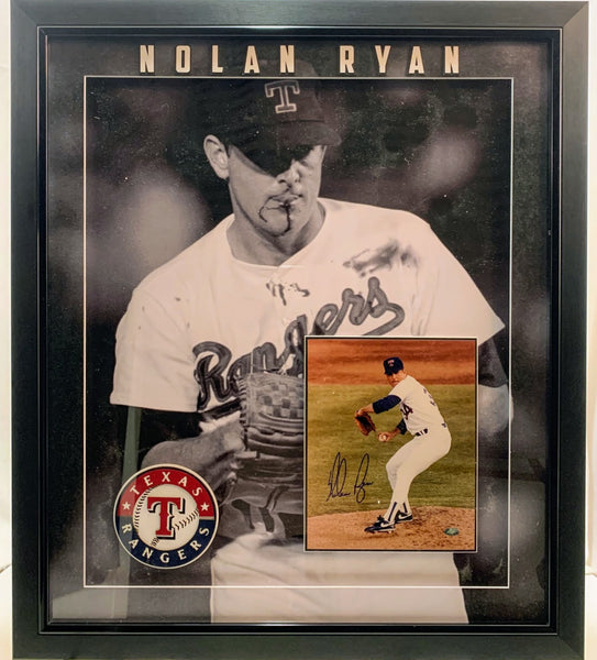 Nolan Ryan Collage Deluxe Framed Shadow Box Signed 8x10 Photo LSM COA
