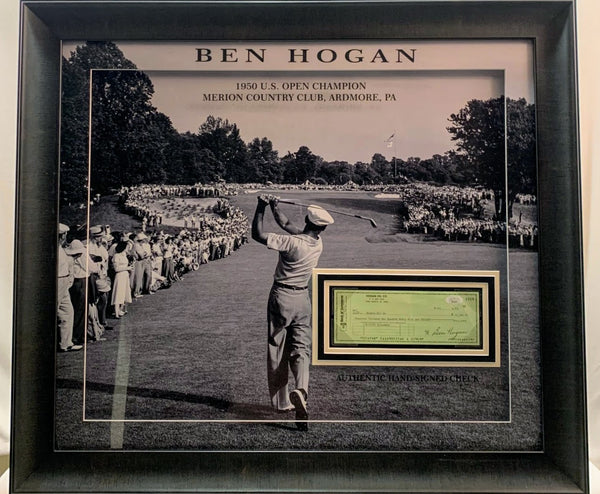 Ben Hogan Autographed Check with Photo Deluxe Frame LSM JSA COA