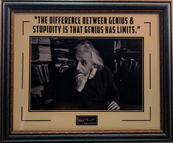 Albert Einstein Framed Photo with Laser Signature