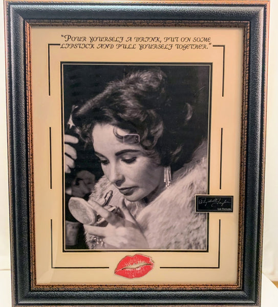 Liz Taylor Lipstick Photo Framed with Quote and Laser Engraved Signature