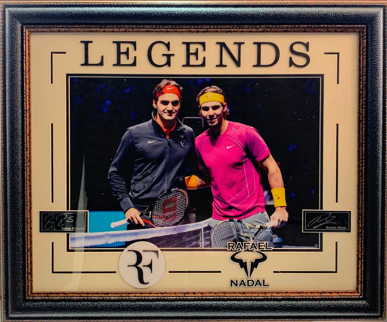 Legends Roger Federer & Rafael Nadal Framed Photo with Laser Engraved Signatures