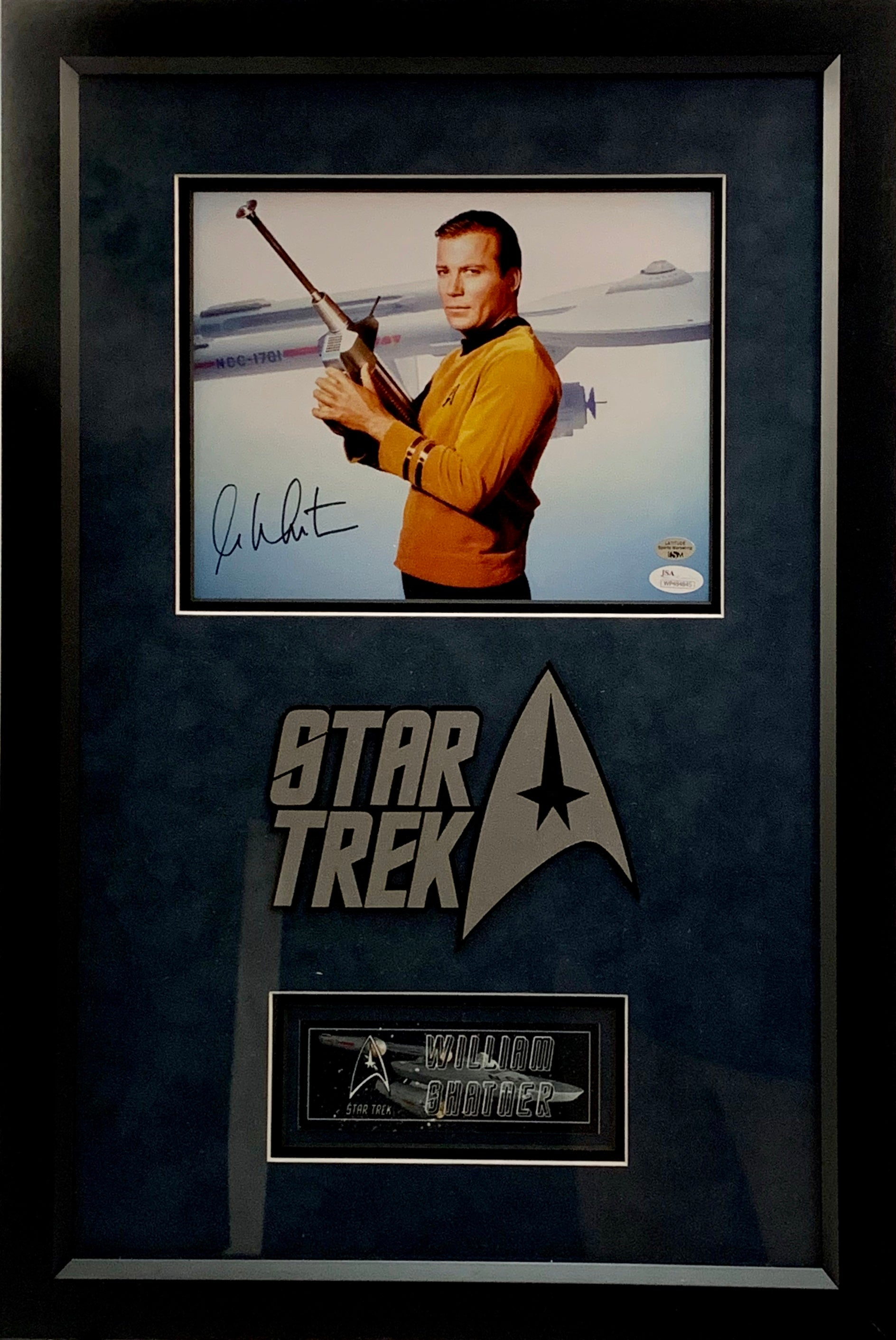 William Shatner Star Trek Signed 8x10 with Deluxe Frame - Latitude Sports Marketing