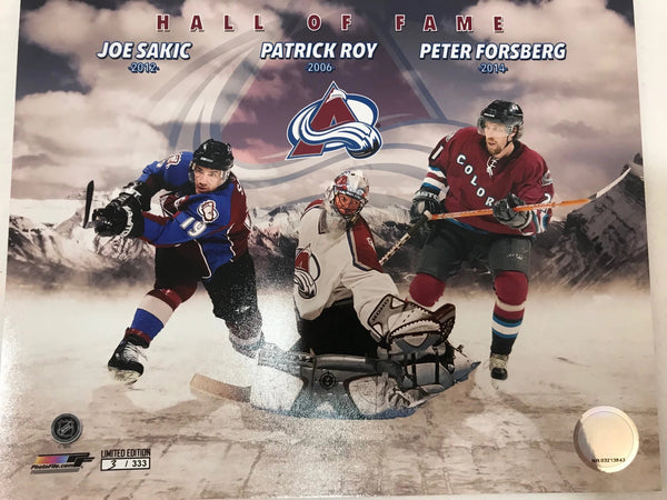 8x10 Hockey Hall of Fame Photo (Sakic/Roy/Forsberg) Colorado Avalanche - Latitude Sports Marketing
