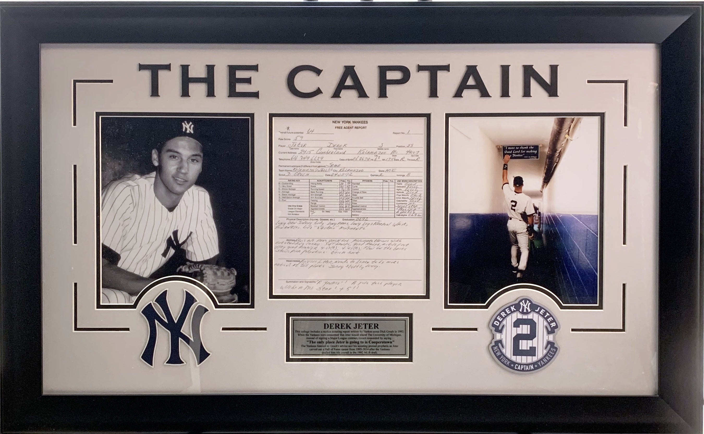 Derek Jeter Framed Replica Scouting Report with Rookie Portrait - Latitude Sports Marketing