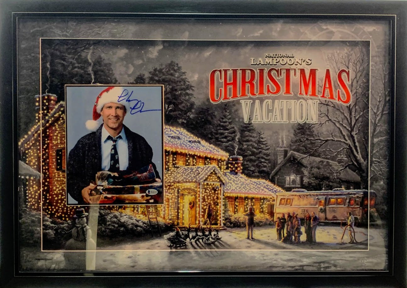 Chevy Chase Signed Photo Christmas Vacation Deluxe Frame Beckett COA