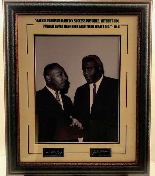 Martin Luther King Jr. & Jackie Robinson Framed Photo with Quote and Laser Signatures