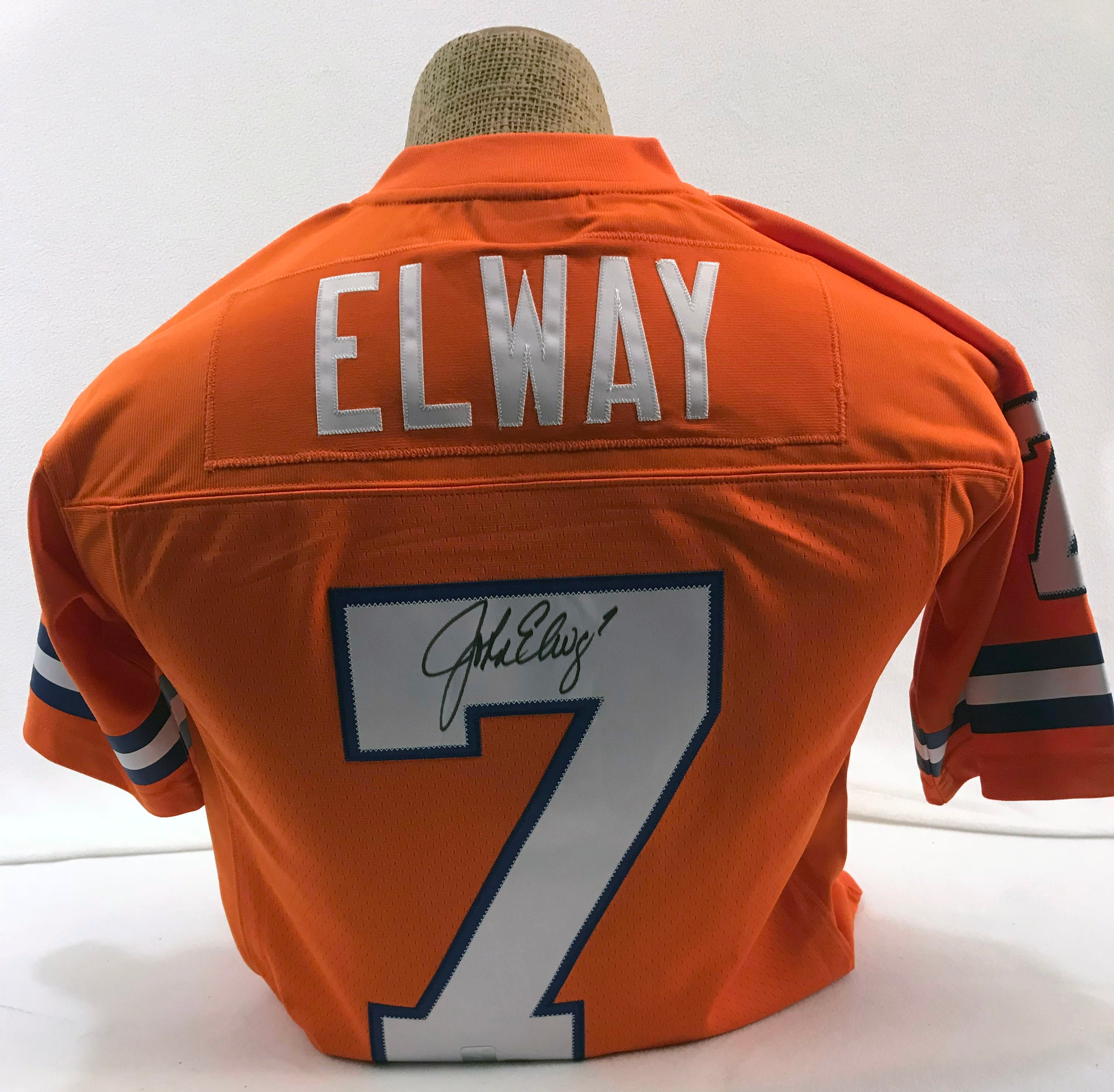 John Elway Signed Orange Mitchell and Ness Jersey