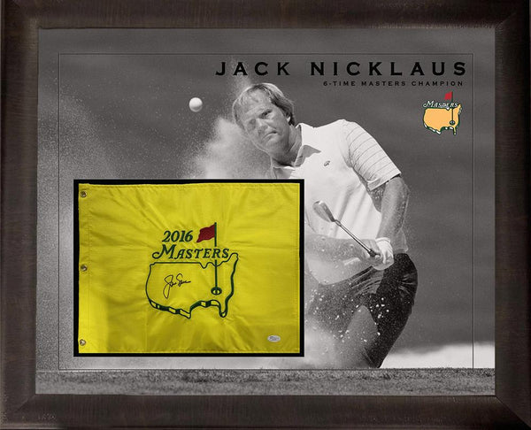 Jack Nicklaus Autographed Flag with Photo Deluxe Frame LSM JSA COA