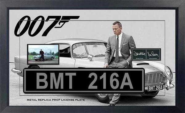 James Bond Sean Connery - Daniel Craig Movie Replica Metal Prop License Plate Framed