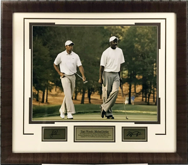Michael Jordan and Tiger Woods Framed 16x20 Photo with Laser Signatures - Latitude Sports Marketing