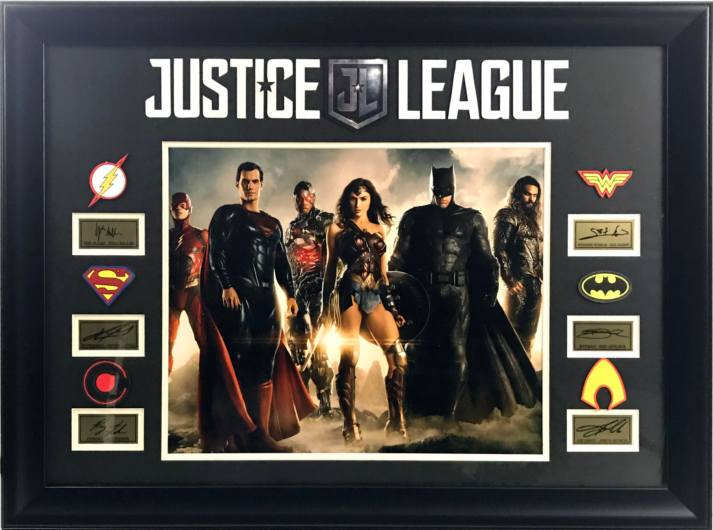 Justice League Framed Photo with Laser Signatures