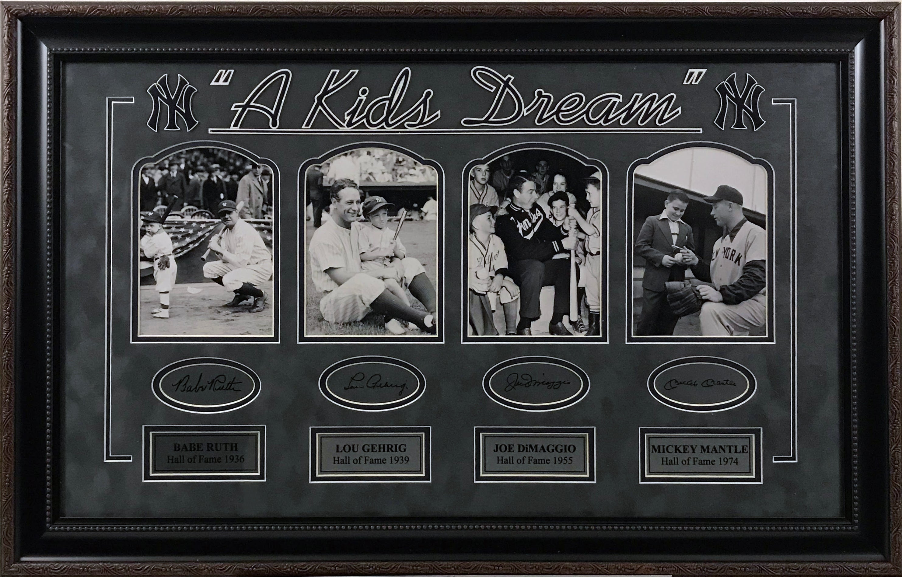 A Kids Dream - Gehrig, Ruth, DiMaggio and Mantle Photo Collage Laser Signatures
