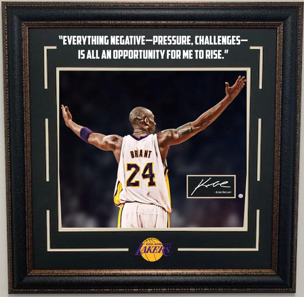 "Kobe Bryant ""Everything Negative"" Framed Photo with Laser Signature and Quote"